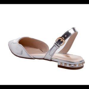 9991d7c1c45 Nine West Shoes - Nine West Silver Metallic Slingback Flat Sandals